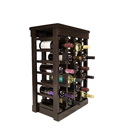El Mar Furnishings 24-Bottle Classic Wood Wine Rack Dark Brown