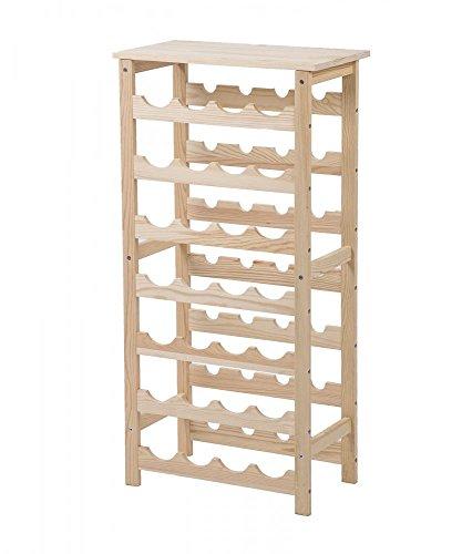 FDW 28 Bottles Holder Solid Wood Wine Rack 7 Tier Storage Display Shelves