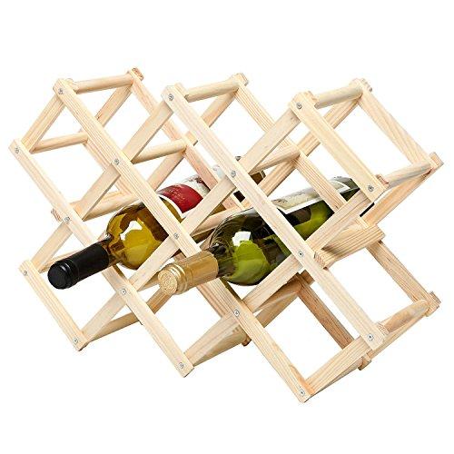 Foldable Wood Wine Rack Wine Holder Storage Display Stand Wood 10-Bottle Wine Rack Log Color