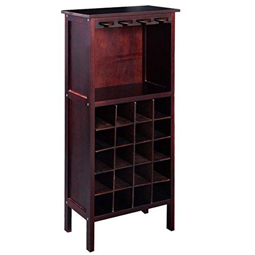 Giantex Wood Wine Rack Holder Storage Shelf Display w Glass Hanger 20-BottleCabinet