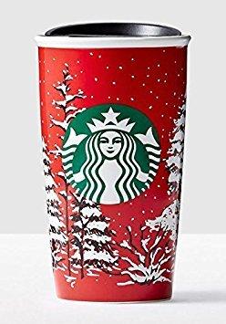 Starbucks Double Wall Travel Mug Red With Christmas Trees 12 oz