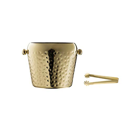 Creative Co-op Electroplated Hammered Stainless Steel Ice Bucket with Tongs Set of 2 Pieces Gold