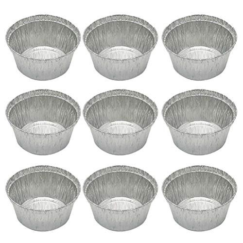 Hemoton Aluminum Foil Pie Pans - 100PCS Round Disposable Tin Pans Aluminum Foil TartPie Pans for Baking Roasting Broiling CookingSilver285 ML