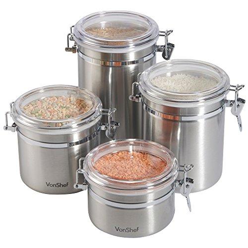 Vonshef Clip Top Jars 4 Piece Coffee Tea Storage Canister Set Stainless Steel Jars