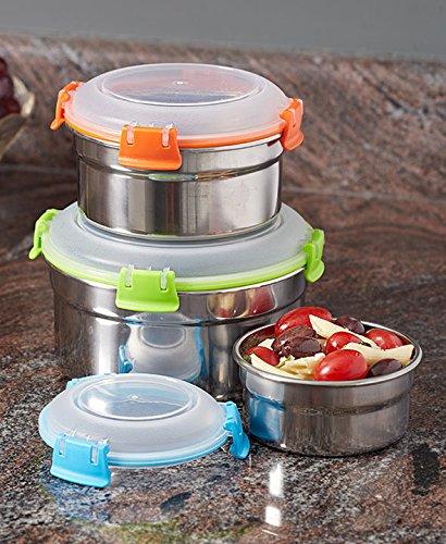 6-Pc Locking Lid Stainless Steel Bowl Set
