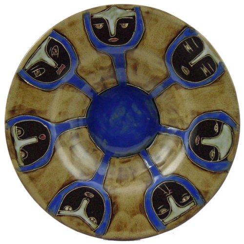 Mara Ceramic Stoneware 12 Inch Round Faces Pasta Bowl