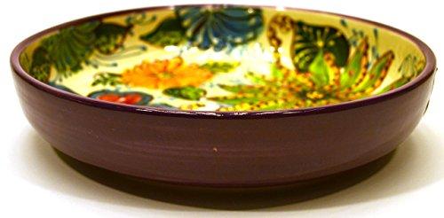 ART ESCUDELLERS Ceramic Salad Bowl Nº2deep Plate Handmade and Handpainted in Flower Decoration964 x 964 x 216 Purple