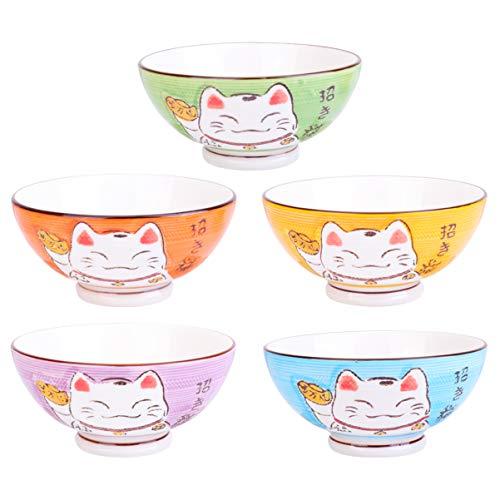 Amosfun 5pcs Ceramic Rice Bowl Salad Bowl Serving Bowl with Lucky Cat Pattern Ceramic Fruit Bowl Mixing Bowl Pasta Dessert Cereal Snack Bowl
