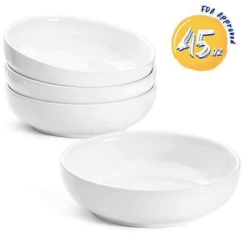 LE TAUCI Pasta Bowls Ceramic Salad Bowl Large Serving Bowl Set 45 Ounce - Set of 4 White
