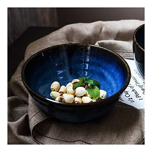 WCS Bowl Ceramic Bowl 55 Inch Blue Ceramic Salad Bowl Ramen Bowl Stoneware with Whorled Polished Surface Japanese Style Sterilizer Dishwasher Microwave Safe