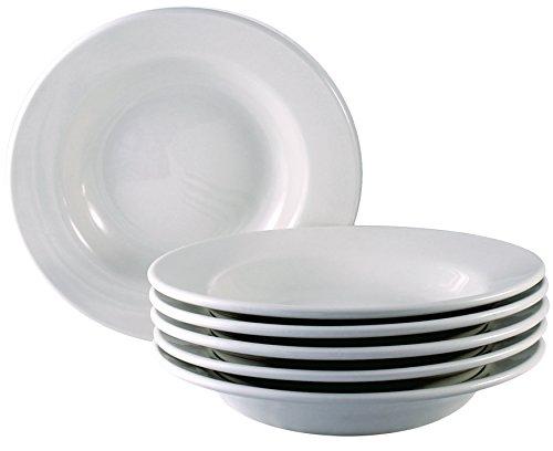 ITI Roma Ceramic Deep Rim Soup Bowls with Pan Scraper 6-Pack 875 Inch Bone White