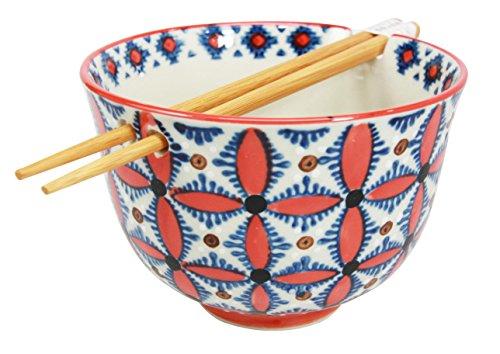 Japanese Design Ninja Star Shuriken Art Ceramic Ramen Udong Noodle Soup Bowl and Chopsticks Set