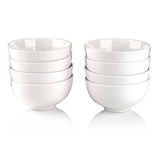 Malacasa 8 Piece Series Regular Porcelain Cereal Bowls Ceramic Soup Rice Bowls 5 H 12 oz Ivory White