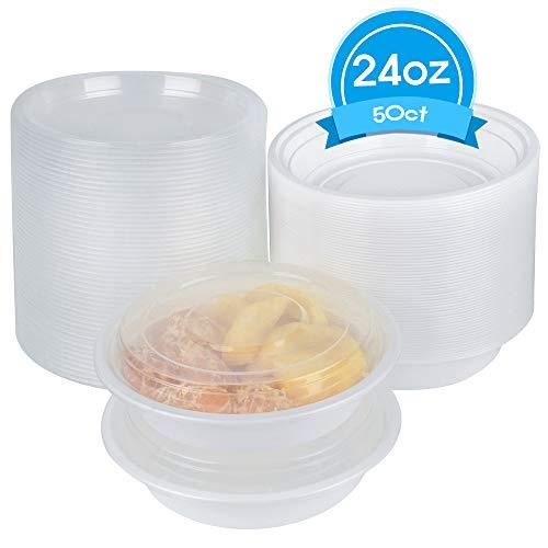 Disposable Plastic Soup Bowl Compostable plate bowl - 50 count 24 oz with lids