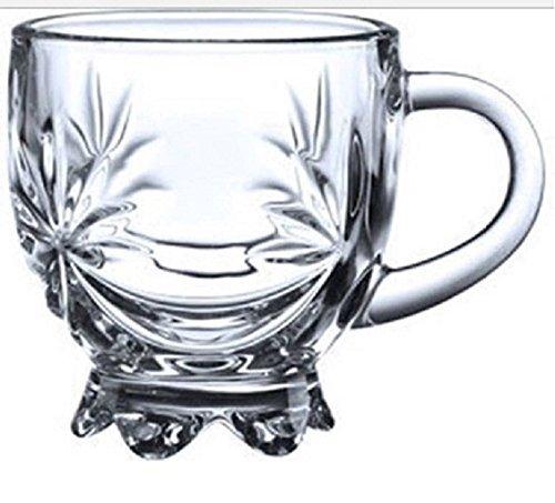 Transparent Glass Tea Coffee Cups Mug FLOWER Crystal Mugs Set of 6
