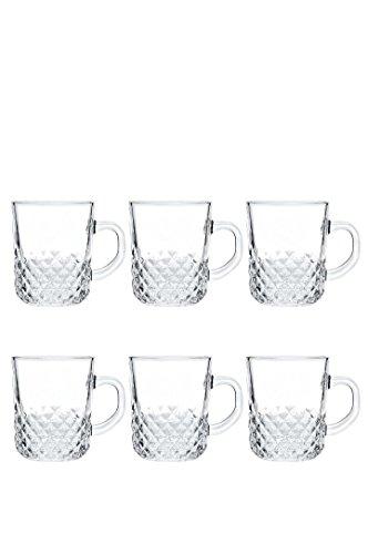 Transparent Tea Coffee Mug Cup Crystal Mugs Set of 6 200 ML