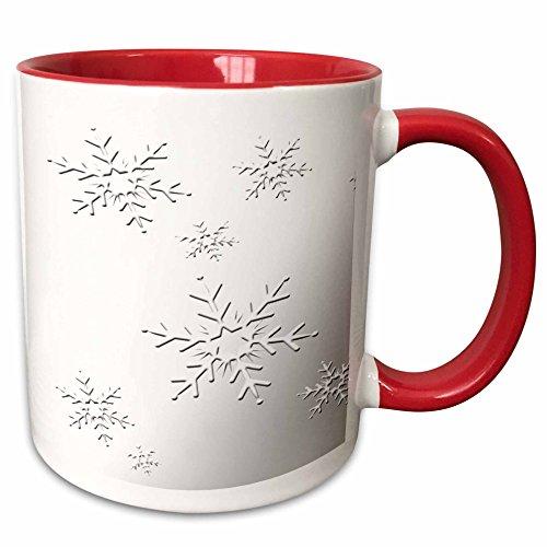 3dRose Beverly Turner Christmas Design - Snowflakes on Silver - 11oz Two-Tone Red Mug mug_58444_5