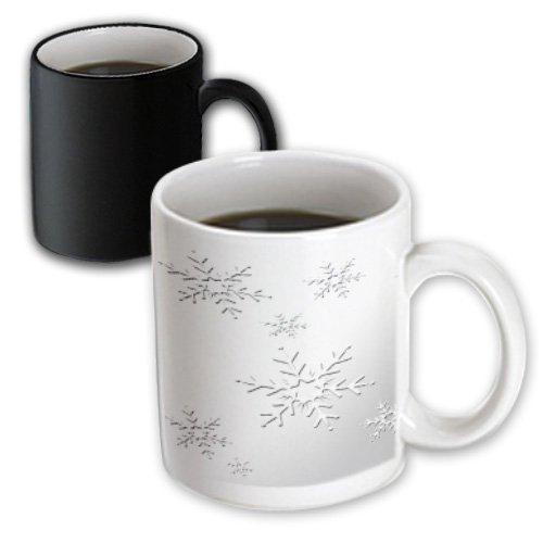 3dRose mug_58444_3 Snowflakes on Silver Magic Transforming Mug 11-Ounce