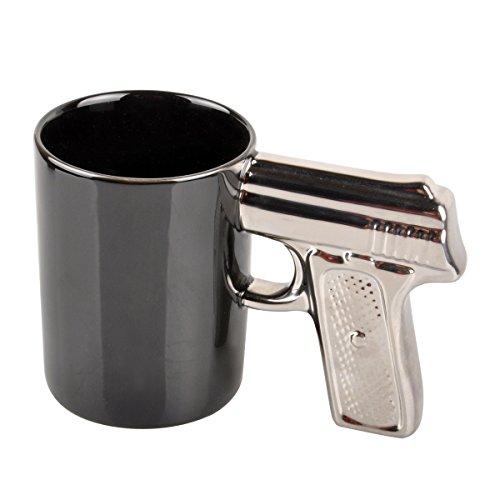 HLJgift Novelty Ceramic Coffee Mugs Gun Mugs Pistol Cup for amazing gift Black&Silver