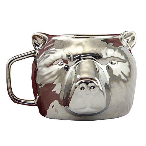 Silver Bear Head Coffee Mug