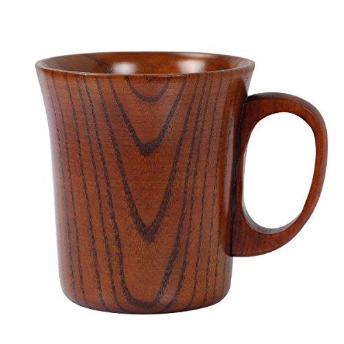 Geeklife Jujube Wood Coffee Mug Wooden Tea Cup Brown 300ml