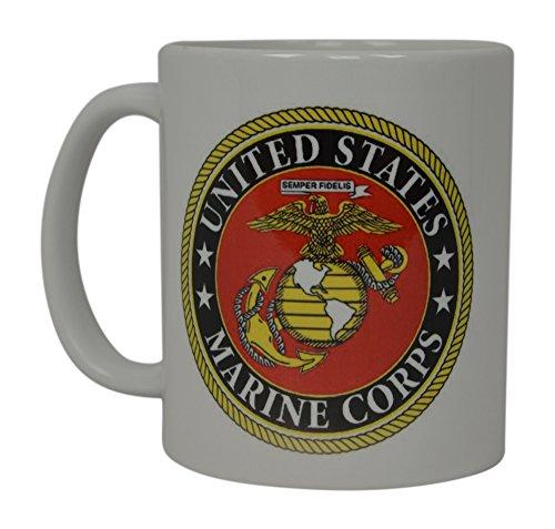 Best Coffee Mug USMC United States Marine Corps American Patriot Novelty Cup Great Gift Idea For Women Men Marines Military Veteran Emblem