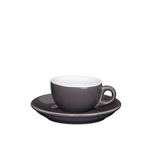 Cilio Roma Dark Grey Porcelain 17 Ounce Espresso Cup Saucer Service for 2