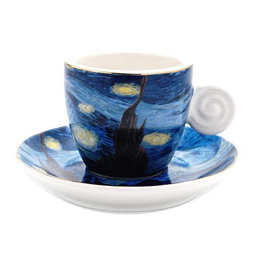 Coffeezone Vincent Van Gogh Art The Starry Night Porcelain Espresso Coffee Cup Saucer 3 oz