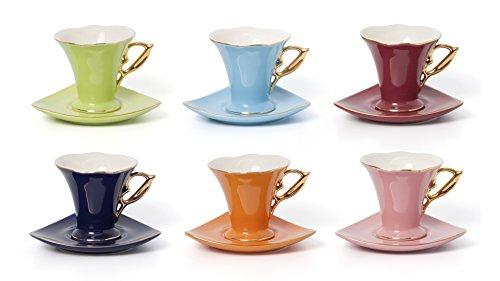Euro Porcelain 12-Pc Carnival Vivid Colors Espresso Miniature Cup Saucer Set 3 oz Service for 6