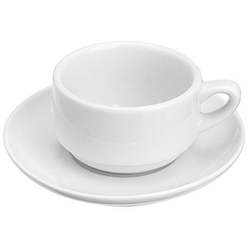 Honey-Can-Do 8113 Porcelain Espresso Cup and Saucer White 3-Ounces