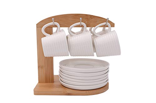 Moving Wild Porcelain Espresso Cups with Saucers and Bamboo Stand - 3 Ounce - Set of 6