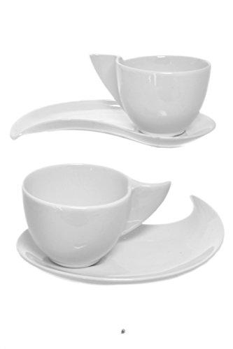 Set 2 Modern Funky White Porcelain Wave Demitasse Espresso Cups and Saucers