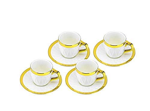 WORLD GIFTS 3 Oz Fine Porcelain Espresso Cups and Saucers Ceramic Emma Collection Espresso Set Service for 4