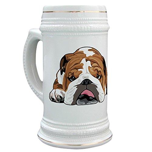 CafePress - Teddy the English Bulldog Stein - Beer Stein 22 oz Ceramic Beer Mug with Gold Trim