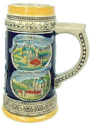 Engraved Collectibel Beer Stein German Landmarks Ceramic