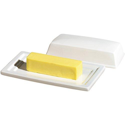 Oggi White Ceramic Butter Dish Set