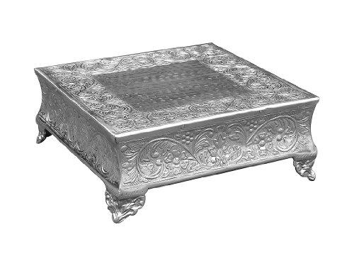 GiftBay Creations 751-22SAMA Wedding Square Cake Stand 22-Inch Silver
