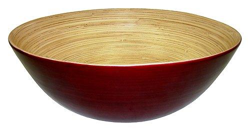 Simply Bamboo BBM14 Glossy Mahogany Bamboo Wood Serving Bowl  Eco-Friendly Dinnerware  Serving Bowl Set for Pasta Fruit Salad - 14 x 14 x 5