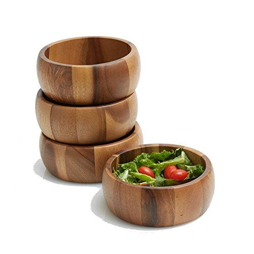 Woodard Charles WTT207N-4 Acacia Wood Large Individual Salad Snack Serving Bowls 65 x 25