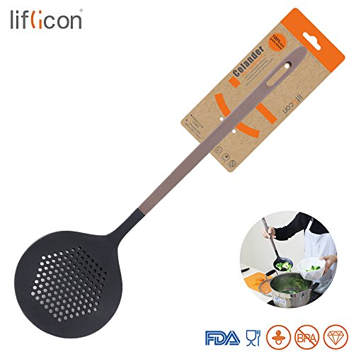 Liflicon Cook Premium Silicone Round Spider ColanderKitchen Silicone Skimmer Slotted Spoon-With Strong Silicone Covering Head And Stay-cool Nylon Handle-Skimmer