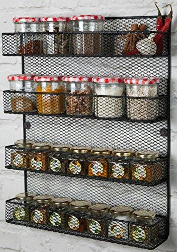 4 Tier Wall Mounted Spice Rack Storage Black Perfect Spice Rack Organizer