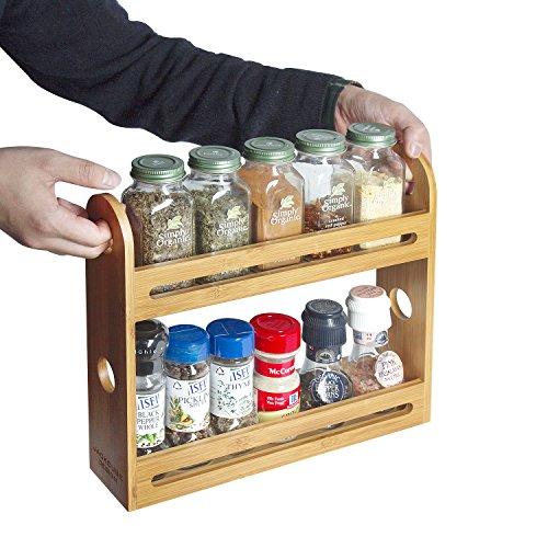 JackCubeDesign Bamboo 2 Tier Spice Jar Rack Kitchen Countertop Worktop Display Organizer Spice Bottles Holder Stand Shelves1276 x 276 x 108 inches – MK377A
