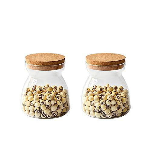 Danmu 2Pcs a Set Lead Free Glass Storage Jars Food Storage Jars with Wood Corks Coffee Bean Jar Cookies Flour Sugar Candy Spice Containers 550 ML  186 oz