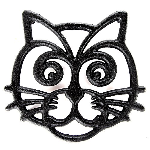Home-X Cast Iron Trivet Cat Face