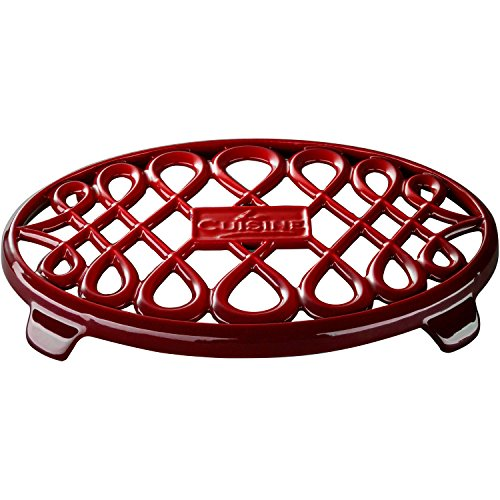 La Cuisine 10 x 7 Enameled Cast Iron Oval Trivet Red