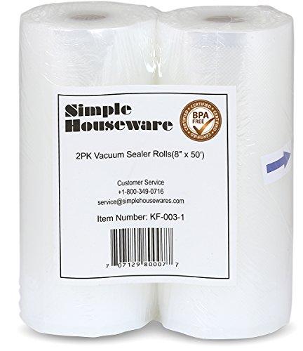 2 Pack - SimpleHouseware 8 x 50 Vacuum Sealer Rolls Food Storage Saver Compatible to Foodsaver Sous Vide total 100 Feet