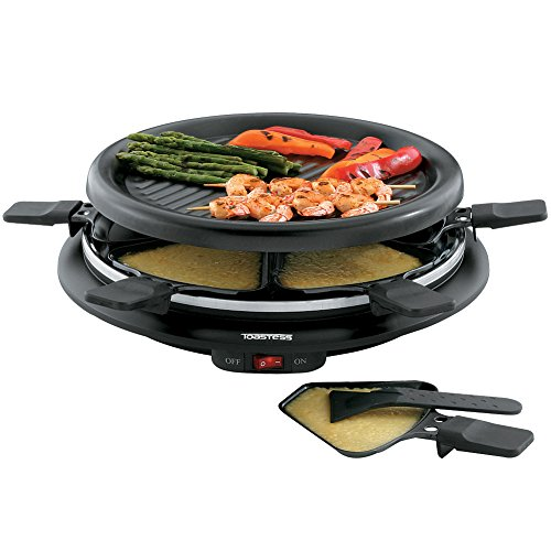 "Toastess Non-stick 6-person 13"" Mini Party Grill And Raclette With Spatulas"