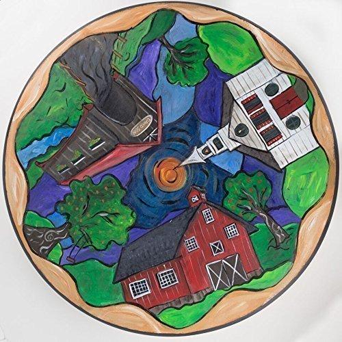 Lovely Country Scene Wooden Lazy Susan by NC Folk Artist Kristen Feighery