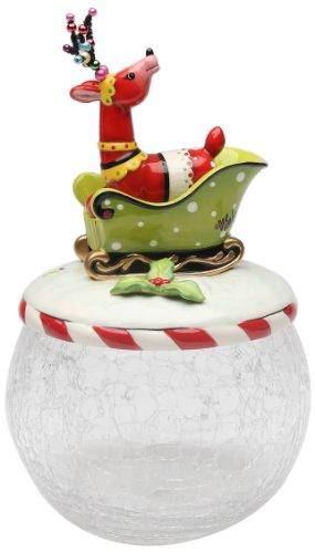 Appletree Design Wild Wonderful Winterland Collection Deer Sitting On Sleigh Glass Cookie Jar 10-Inch