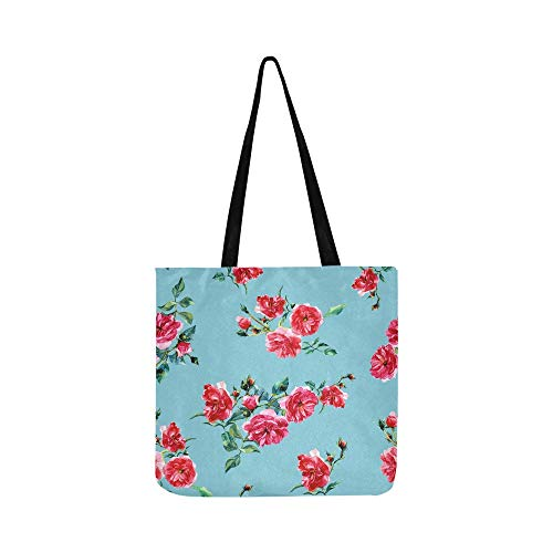 Folding Reusable Grocery Bags Romantic Rose Red Fragrant Flower Clothe Bag Reusable Grocery Shopping Bags Tote For Shopping Groceries Books Clothing Packaging Bags